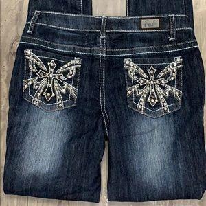 Earl skinny dark wash jeans cross bling size 5